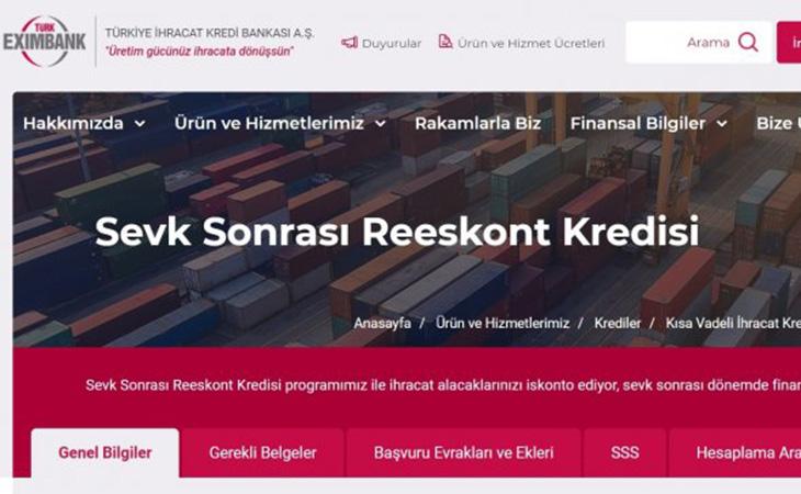 Eximbank – Sevk Sonrası Reeskont Kredisi